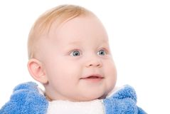 Bright closeup picture of blue-eyed baby boy. Isolated on white royalty free stock image