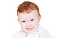 Bright closeup portrait of adorable baby boy Stock Photos
