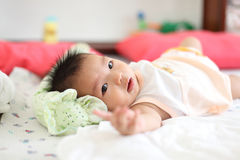 Bright closeup portrait of adorable baby girl Royalty Free Stock Images