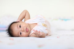 Bright closeup portrait of adorable baby girl Royalty Free Stock Photos