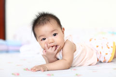 Bright closeup portrait of adorable baby girl Stock Images