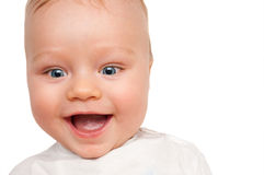 Bright closeup portrait of adorable baby isolated Stock Photos