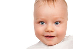 Bright closeup portrait of adorable baby isolated Royalty Free Stock Image