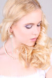 Bright closeup portrait of blonde girl Royalty Free Stock Photo