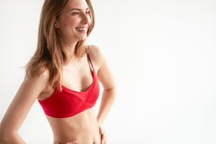 Bright closeup portrait picture of beautiful woman in bra Stock Images
