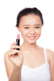 Bright closeup portrait picture of beautiful woman with lipstick Stock Photos