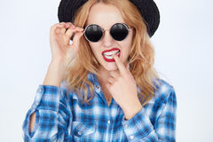 Bright closeup portrait picture of funny teenage girl in shades Stock Photography