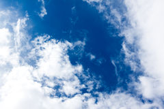 Bright clouds and blue sky. Background Royalty Free Stock Image