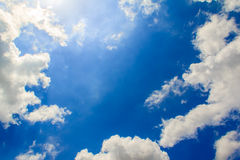 Bright clouds with blue sky. Beautiful fresh, bright clouds with blue sky in bright day for scene and background Stock Photos