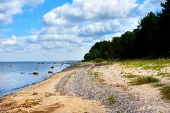 Bright cloudy sky and horizon over the Baltic Sea. Latvia stock photo