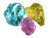 Bright cmyk Glass Stones Stock Images