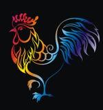 Bright Cockerel. Beautiful greeting with bright cockerel Stock Image