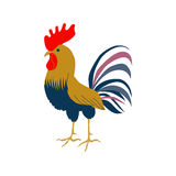 Bright cockerel on a white background. A lovely illustration of a rooster in flat style. Cock in flat style. Rooster symbol of Chinese New Year. Vector Royalty Free Stock Image