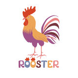 Bright cockerel on a white background. A lovely illustration of a rooster in flat style. Cock in flat style. Rooster symbol of Chinese New Year. Vector Stock Image