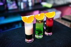 Bright cocktail in the club from the barman in night alcohol stock photo