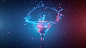 Bright cocktail with lemon in glass, splashing water stock footage