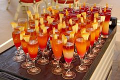 Bright cocktails with melon pieces at tropical resort. Holiday concept. Holiday concept. Drink in vacations. Happy summer holiday royalty free stock photos