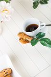 Bright coffee break theme. Lovely home concept, coffee break Royalty Free Stock Photos