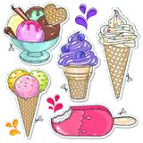 Bright cold desserts, soft ice cream in waffle cone and ice cream balls in cup Stock Photography