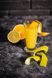 Bright cold summer tropical alcohol orange coctail of ripe oranges stock photo