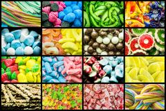Bright collage of multi-colored chewy candies, sweet dried fruits and fresh sweet pastries. Bright background of sweets and dried fruits stock photos