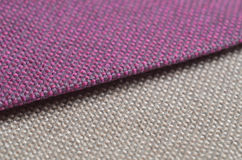 Bright collection of colorful gunny textile samples. Fabric texture background Stock Photography