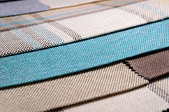 Bright collection of colorful gunny textile samples. Fabric texture background Stock Image