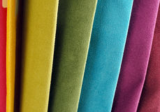 Bright collection of colorful velour textile sаmples. Fabric texture background Royalty Free Stock Image