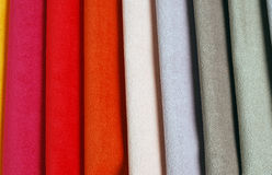 Bright collection of colorful velour textile sаmples. Fabric texture background Royalty Free Stock Photo