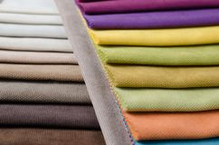Bright collection of colorful velour textile samples. Fabric texture background Stock Photo