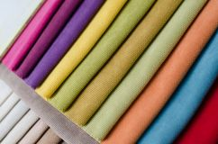 Bright collection of colorful velour textile samples. Fabric texture background Stock Image