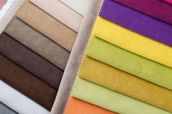 Bright collection of colorful velour textile samples. Fabric texture background Stock Photography