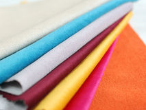 Bright collection of colorful velour textile sаmples. Fabric texture background Royalty Free Stock Photography