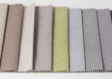 Bright collection of gunny textile samples. Fabric texture background. Royalty Free Stock Images