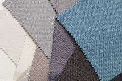 Bright collection of gunny textile samples. Fabric texture background. Royalty Free Stock Photography