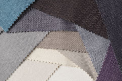 Bright collection of gunny textile samples. Fabric texture background. Royalty Free Stock Photo