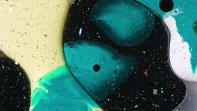 Bright Collors Bubbles Slow Motion Oil Ink. Fantastic structure of colorful bubbles. Chaotic motion. Abstract colorful paint. Top view stock footage