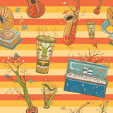 Bright coloful seamless pattern with musical instruments Stock Photography