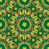 Bright color bird flower green background pattern. Vector pattern with birds and flowers in etno style. Bright colors. Green background Royalty Free Stock Image