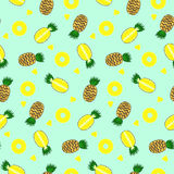 Bright color brown full pineapple, yellow pineapples circles and pieces seamless pattern Stock Photo
