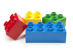 Bright Color Building Blocks Isolated on White Stock Image