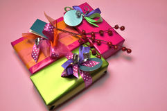 Bright color festive present gifts Royalty Free Stock Photos
