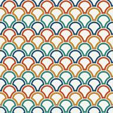Bright fish scale wallpaper. Asian traditional ornament with repeated scallops. Seamless pattern with semicircles. Bright color fish scale wallpaper. Asian Royalty Free Stock Photo