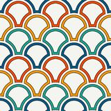 Bright fish scale wallpaper. Asian traditional ornament with repeated scallops. Seamless pattern with semicircles. Bright color fish scale wallpaper. Asian Stock Photos