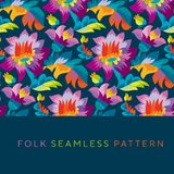 Bright color folk style floral seamless pattern. Rustic festival flower ornament based on Ukraine traditional `samchakivka` paintings Stock Image