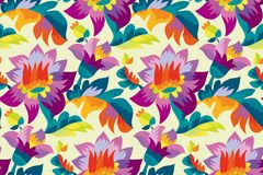Bright color folk style floral seamless pattern. Rustic festival flower ornament based on Ukraine traditional `samchakivka` paintings Stock Photography
