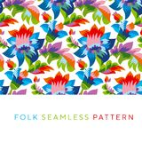 Bright color folk style floral seamless pattern. Rustic festival flower ornament based on Ukraine traditional `samchakivka` paintings Stock Photos