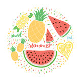 Bright color fresh fruits emblem: watermelon, lemon, pineapple. Royalty Free Stock Photography