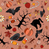 Bright color Halloween seamless pattern. Great for cards, party invitations, wallpaper, holiday design Stock Photography