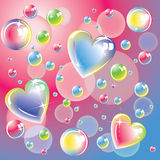 Bright color hearts and soap bubbles Royalty Free Stock Photos
